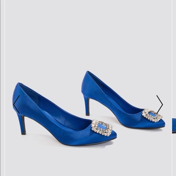 57223c5736f Embellished Mid heel satin pumps blue shoes.